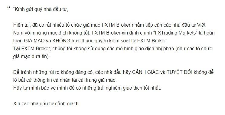 Thư cảnh báo FXTM gửi đến các nhà đầu tư - Review sàn FX Trading Market