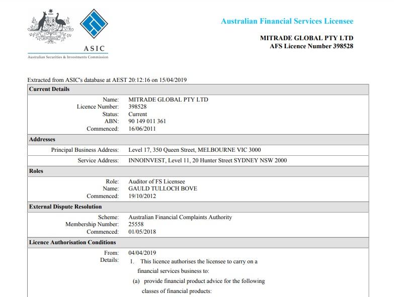 Sở hữu giấy phép Ủy ban Chứng khoán và Đầu tư Úc – ASIC vậy liệu Mitrade có lừa đảo không?