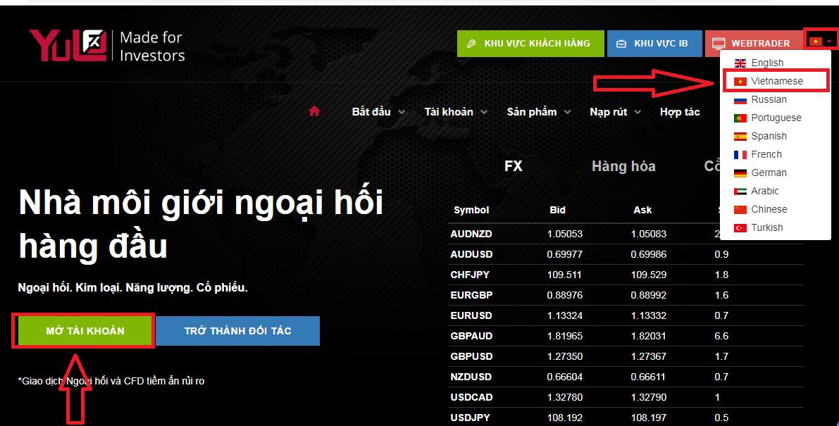 Hướng dẫn mở tài khoản Yulofx