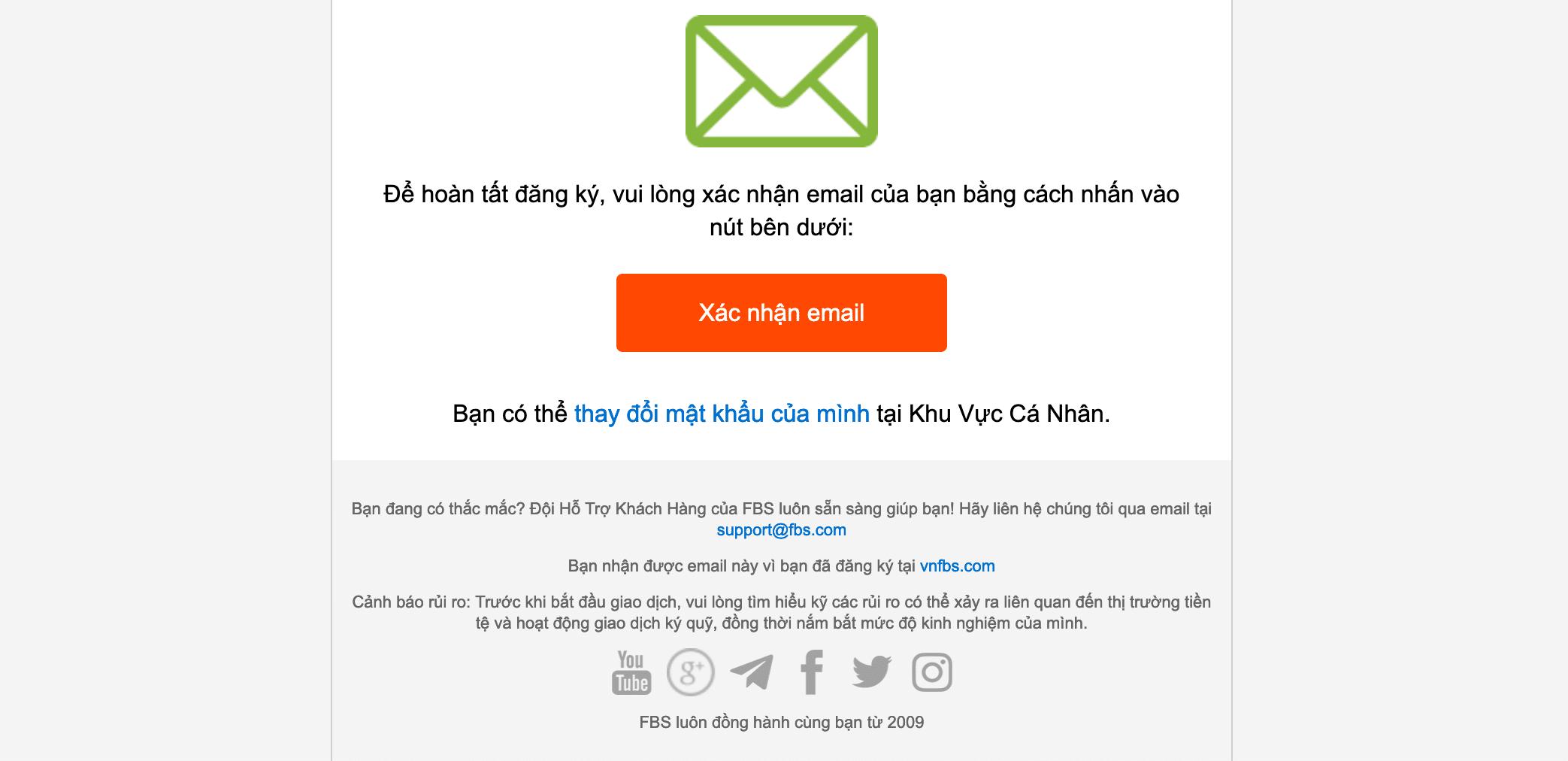Xác nhận email đăng ký - trong email có password tài khoản FBS bạn vừa tạo