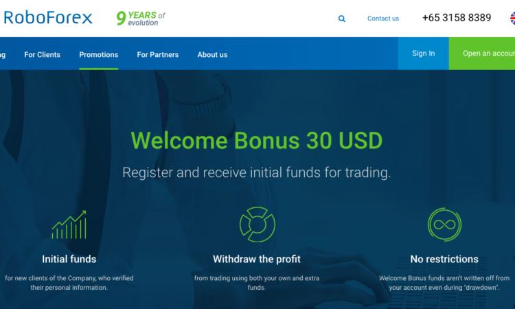 RoboForex sàn forex tặng tiền 30$ cho người mới