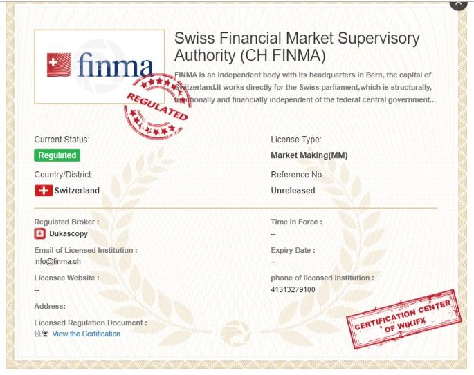 Sàn Dukascopy được cấp giấy phép bới FINMA